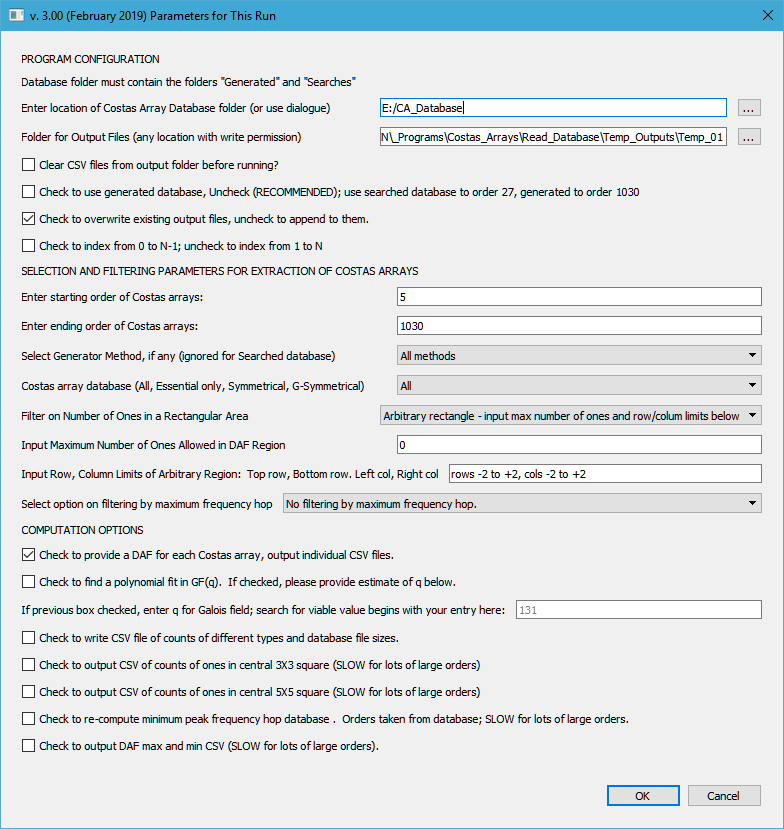 Database extraction dialog